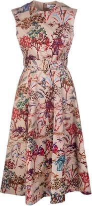 MSGM Nude Midi Dress With Fantasy Print