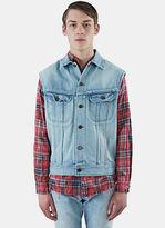 Saint Laurent Men's Oversized Sleeveless Denim Jacket In Blue