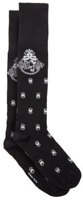 Simone Rocha Cherub-intarsia Knee-high Socks - Black/white