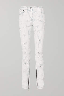Palm Angels Distressed Painted Mid-rise Jeans - White