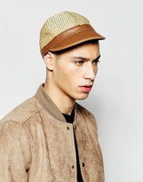 Asos Straw Cap With Faux Leather Peak