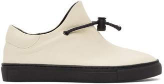 Y's Ys Off-White Leather Slip-On Sneakers