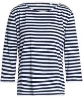 Chinti and Parker Embroidered Striped Cotton-Jersey Top