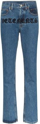 Vetements Gothic Magic logo-embroidered straight-leg jeans