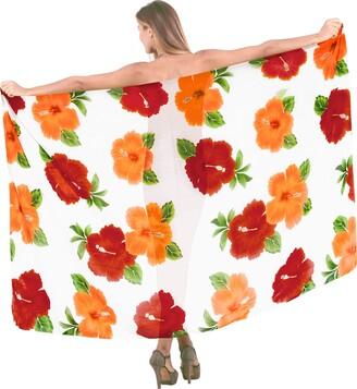 LA LEELA Sheer Chiffon Hibiscus Flower Printed Swim Beach Sarong Cover up Blood Red