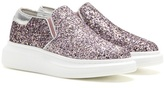 Alexander McQueen Leather-trimmed Glitter Slip-on Sneakers