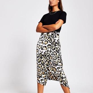 River Island Black animal print short sleeve midi dress