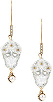 Betsey Johnson Daisy Crown Skull Drop Earrings