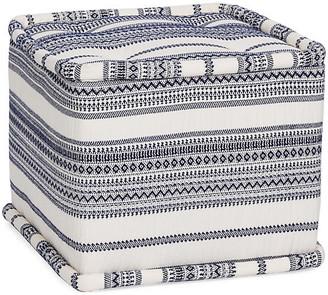 Kim Salmela Fes Cube Ottoman - Indigo Stripe