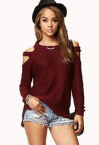 Forever 21 Chunky Cutout Shoulder Sweater