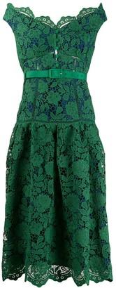 Self-Portrait Off-The-Shoulder Lace Midi Dress
