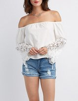 Charlotte Russe Crochet Sleeve Off-The-Shoulder Top