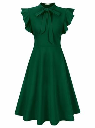 Moyabo Womens Dresses for Women Party Knee Length Dresses for Women Tie Neck Ruffle Sleeveless Casual Dress Dark Green Dress Large