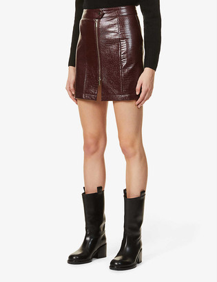 Topshop Lauren croc-embossed mid-waisted faux-leather mini skirt