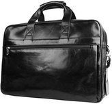Bosca Men's Double Compartment Leather Briefcase - Black