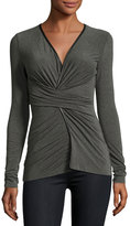 Bailey 44 Faux-Wrap Front Jersey Top, Charcoal