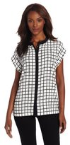 Chaus Women's Short Sleeve Single-Lined Square Grid Blouse