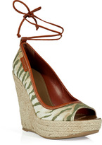 Sergio Rossi Military Canvas Wedges