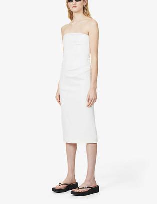 Sportmax Dritto strapless stretch-cotton midi dress
