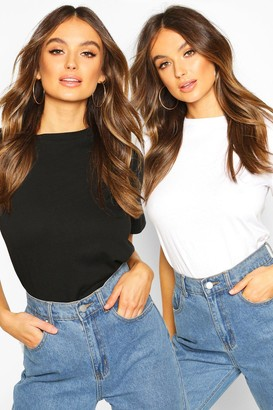 boohoo Short Sleeved Round Neck T- Shirt Two Pack
