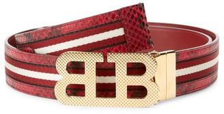 Bally Iconic Buckle Mirror Stripe Belt