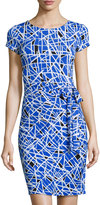 Neiman Marcus Madison Short-Sleeve Side-Knot Dress, Cobalt Glass
