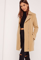 Missguided Faux Wool Biker Coat Camel