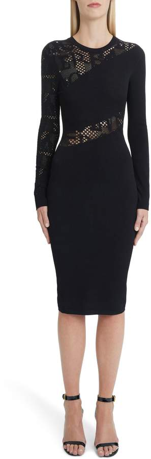 Versace Logo Mesh Panel Body-Con Dress