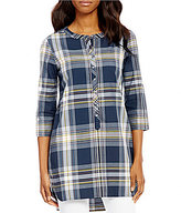 Pendleton 3/4 Sleeve Plaid Henley Tunic