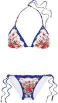Dolce & Gabbana Printed Triangle Bikini - Blue