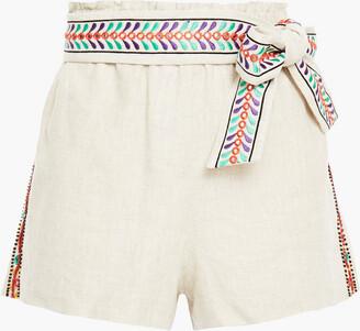 Alice + Olivia Linn Belted Embellished Linen Shorts
