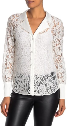 Laundry by Shelli Segal Satin Trim Sheer Lace Long Sleeve Blouse