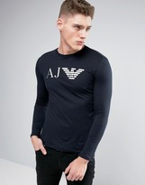 Armani Jeans Long Sleeve Top Slim Fit Eagle Logo in Navy