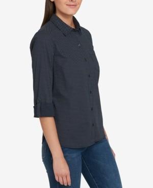 Tommy Hilfiger Cotton Printed Roll-Tab Utility Shirt