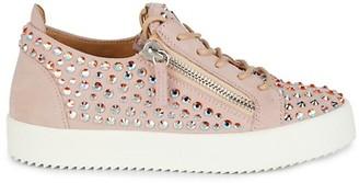 Giuseppe Zanotti Embellished Zipper Suede Sneakers