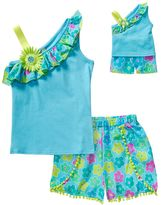 Dollie & Me Girls 4-14 Asymmetrical Floral Tank Top & Pom-Pom Shorts Set