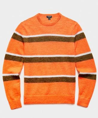 Todd Snyder Striped Mohair Crew in Orange