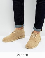 Asos Wide Fit Desert Boots In Stone Suede
