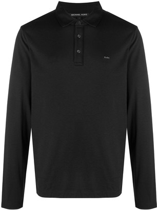 Michael Kors Button-Up Long-Sleeved Polo Shirt