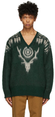 South2 West8 Green Mohair V-Neck Sweater