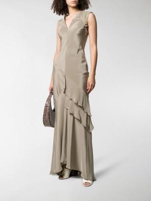 Max Mara Harness-Strap Tiered-Ruffle Crepe De Chine Dress