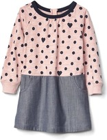 Gap Dots & hearts mix-fabric dress