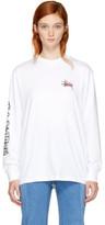 032c White Stüssy Edition Long Sleeve Logo T-shirt