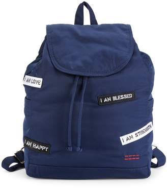 Peace Love World Patch Drawstring Backpack