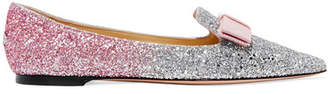 Jimmy Choo Gala Grosgrain-trimmed Degrade Glittered Leather Point-toe Flats - Baby pink