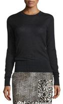Jason Wu Lace-Inset Long-Sleeve Luxury Pullover, Black