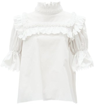 Horror Vacui Lucy Ruffled Cotton-poplin Blouse - White