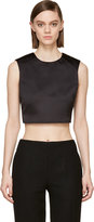 McQ by Alexander McQueen Black Satin Cropped Top