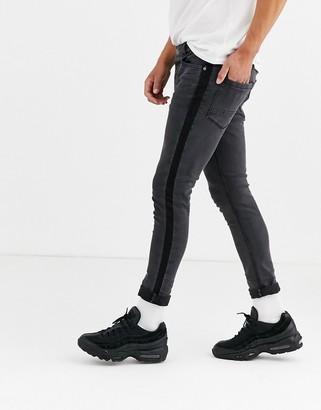 Brave Soul skinny fit side stripe jeans-Grey