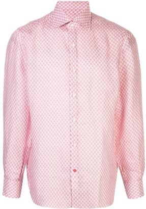 Isaia Geometric-Print Cotton Shirt